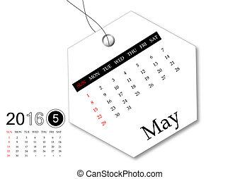mai, série, -, étiquette, conception, calendrier, 2016