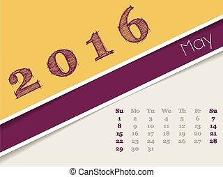 mai, simplistic, calendrier, 2016, conception