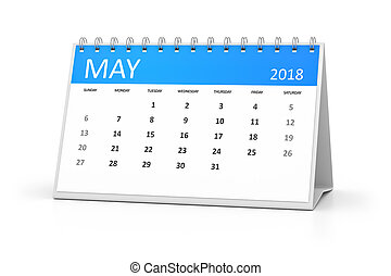 mai, table, calendrier, 2018