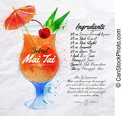 Mai Tai cocktails watercolor - Mai Tai cocktails drawn ...