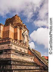 mai, temple, chedi, luang, chiang, ancien, pagode, thaïlande, wat