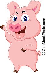 maiale, cartone animato, carino