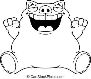 maiale, cartone animato, grasso, seduta