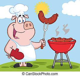 maiale, chef, cuoco, a, barbecue, su, uno, collina