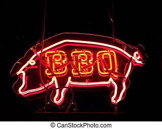 maiale, neon, bbq, segno