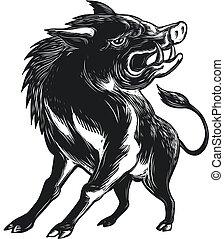 maiale selvaggio, arrabbiato, razorback, scratchboard