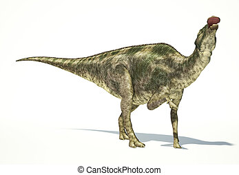 Maiasaura dinosaur, full body photorealistic representation, scientifically correct. Dynamic view, On white background and drop shadow. Clipping path included.