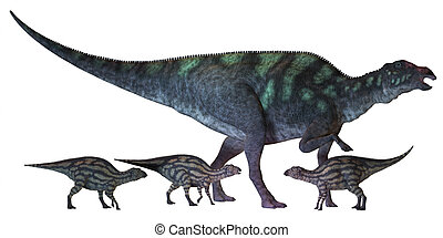 Maiasaura Dinosaur with Babies - Maiasaura is a large...