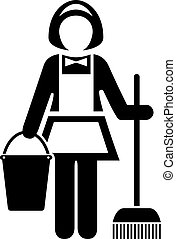 Maid cleaner vector icon