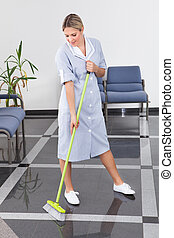 Maid Cleaning The Floor