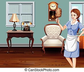 Maid cleaning the house illustration