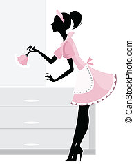 Vector illustration of a maid cleaning the room