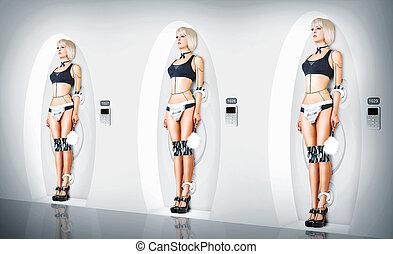 maid., femmina, cyborg, completo, sexy