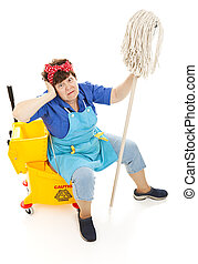 Maid Goes Mad - Humorous image of a tired maid going crazy....