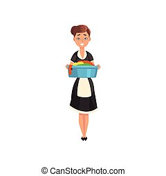 Maid holding a basin with wet clean linen, housemaid character wearing classic uniform with black dress and white apron, cleaning service vector Illustration