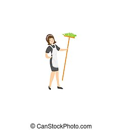 Cute maid character in a classic french outfit posing with a broom. A maid holding the broom in hand concept. Isolated raster icon illustration on white background in cartoon style.