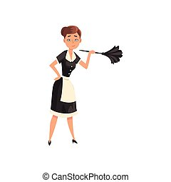 Maid holding a feather duster, housemaid character wearing classic uniform with black dress and white apron, cleaning service vector Illustration