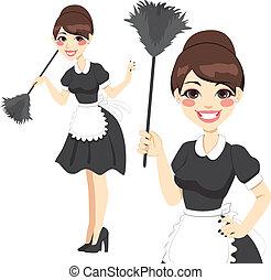 maid, huisvrouw, stofdoek