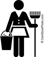 Maid icon isolated on white background