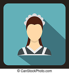 Maid icon in flat style
