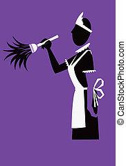 Maid - NURSE: A black and white silhouette of a nurse...