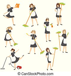 Maid posing in different situations set. Raster illustration in flat cartoon style