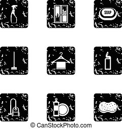 Maid service and house cleaning icons set
