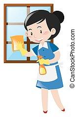 maid, venster zuiverend, vrolijke
