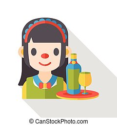 maid waitress flat icon
