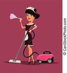 Maid woman character vacuuming. Vector flat cartoon illustration