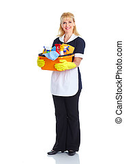 Maid woman - Smiling maid woman. Isolated over white...