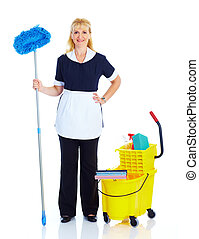 Maid woman. - Smiling maid woman. Isolated over white...