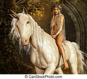 Maiden and Unicorn - a maiden riding a unicorn in the fairy...