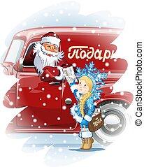 maiden-postman, neige, ded, carte, moroz, noël