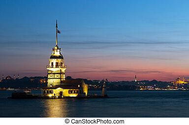 Maiden tower ( Kiz Kulesi) in Istanbul on a sunset, Turkey