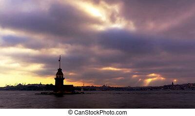 Maiden Tower (Kiz Kulesi Leander's Tower) time lapse, Istanbul, Turkey