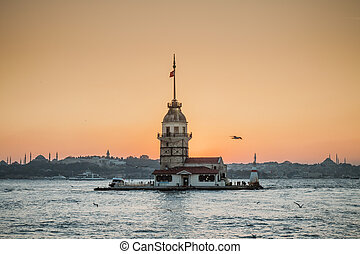 Maiden Tower or Kiz Kulesi Istanbul, Turkey - Maiden Tower ,...