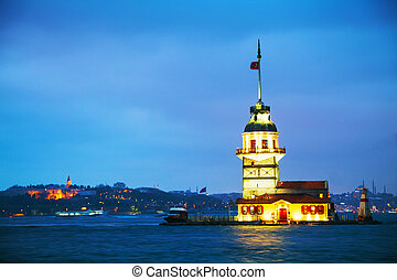 Maiden's island in Istanbul, Turkey at sunset time