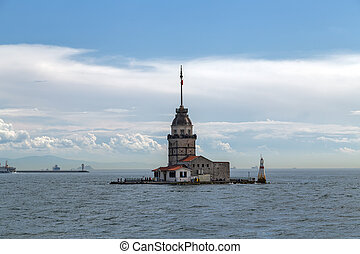 maiden's, tour, sur, les, bosphore, détroit, cela, sépare, les, mer noire, et, les, mer, de, marmara., extérieur, istanbul, city., turquie, repère, kiz, kulesi.