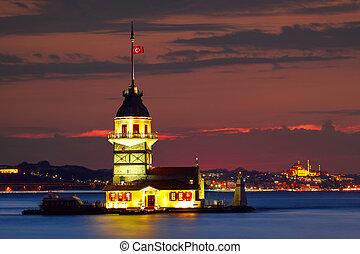 Maiden's Tower in istanbul, Turkey.