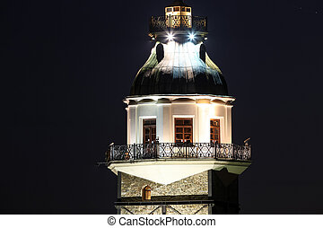 Maidens Tower in Istanbul, Turkey - Night View of Maidens...