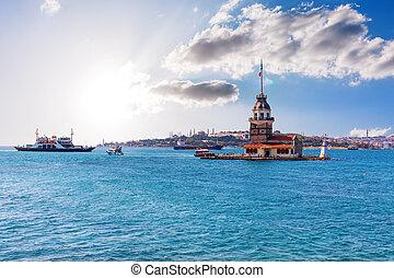 Maiden's Tower in the Marmara sea, Istanbul, Turkey.