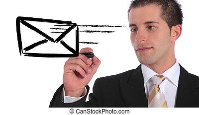 Mail - A handsome businessman sketching a flying envelope....