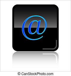 Mail adress glossy web icon - Mail adress - Black and blue...