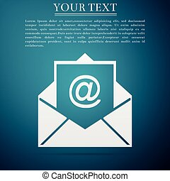 Mail and e-mail icon isolated on blue background. Envelope symbol e-mail. Email message sign. Flat design. Vector Illustration