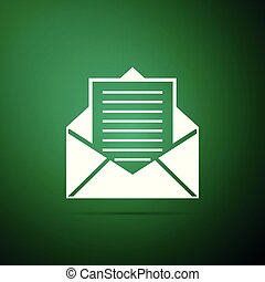 Mail and e-mail icon isolated on green background. Envelope symbol e-mail. Email message sign. Flat design. Vector Illustration