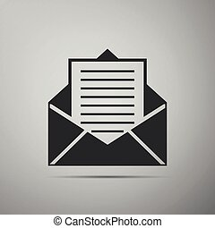 Mail and e-mail icon isolated on grey background. Envelope symbol e-mail. Email message sign. Flat design. Vector Illustration