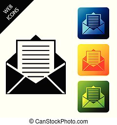 Mail and e-mail icon isolated on white background. Envelope symbol e-mail. Email message sign. Set icons colorful square buttons. Vector Illustration