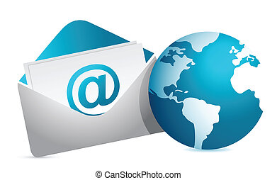 mail and globe illustration design