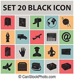 Mail and postman black icons in set collection for design. Mail and equipment vector symbol stock web illustration.